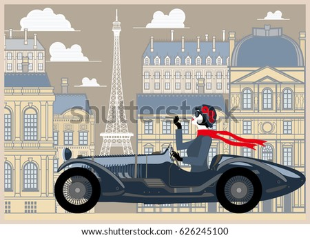 flapper girl in a retro car on