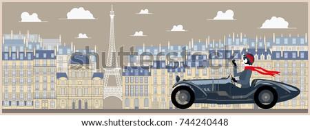 flapper girl in a retro car on