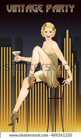 flapper girl. retro party...