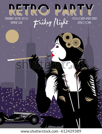 flapper girl with cigarette and