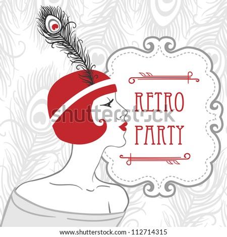 Flapper girls set: retro party invitation design in 20's style