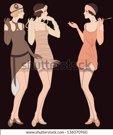 Flapper girls set three young beautiful women of 1920s in different dresses are talking