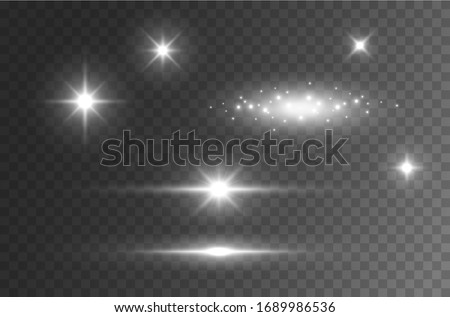 Flare light effect isolated on transparent background. Sun flash lense rays and spotlight  beams set. Glow star burst with sparkles or flare car highlight.