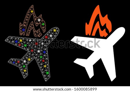 flare mesh airplane fire icon