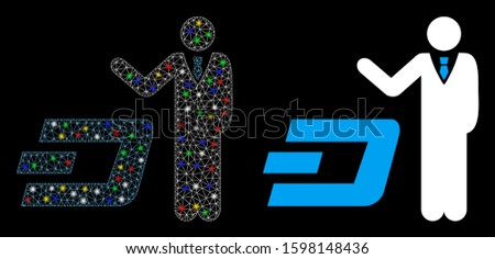 Flare mesh businessman show Dash icon with sparkle effect. Abstract illuminated model of businessman show Dash. Shiny wire carcass triangular mesh businessman show Dash icon.