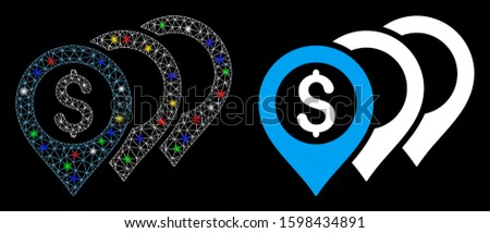 Flare mesh dollar map pointers icon with sparkle effect. Abstract illuminated model of dollar map pointers. Shiny wire frame polygonal mesh dollar map pointers icon.