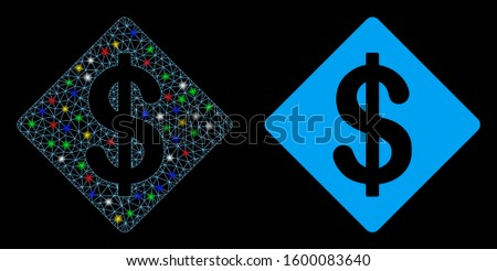 Flare mesh dollar rhombus icon with glow effect. Abstract illuminated model of dollar rhombus. Shiny wire frame triangular mesh dollar rhombus icon. Vector abstraction on a black background.