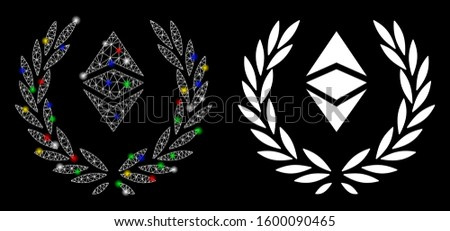 Flare mesh Ethereum classic laureal wreath icon with glare effect. Abstract illuminated model of Ethereum classic laureal wreath. Shiny wire frame polygonal mesh Ethereum classic laureal wreath icon.