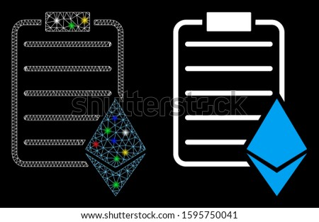 Flare mesh Ethereum contract icon with glitter effect. Abstract illuminated model of Ethereum contract. Shiny wire frame triangular mesh Ethereum contract icon.