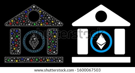 Flare mesh Ethereum corporation building icon with glow effect. Abstract illuminated model of Ethereum corporation building. Shiny wire frame triangular mesh Ethereum corporation building icon.