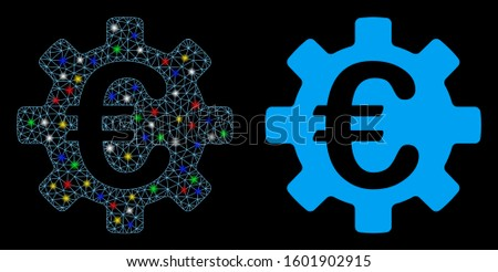 Flare mesh Euro machinery gear icon with lightspot effect. Abstract illuminated model of Euro machinery gear. Shiny wire carcass polygonal mesh Euro machinery gear icon.