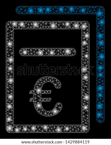 Flare mesh Euro pricing documents with glare effect. Abstract illuminated model of Euro pricing documents icon. Shiny wire frame triangular mesh Euro pricing documents.