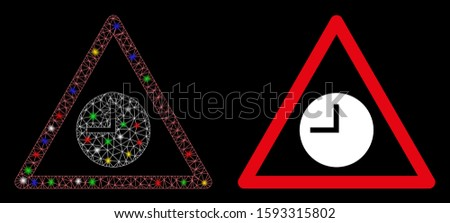 Flare mesh expired warning icon with sparkle effect. Abstract illuminated model of expired warning. Shiny wire frame polygonal mesh expired warning icon. Vector abstraction on a black background.