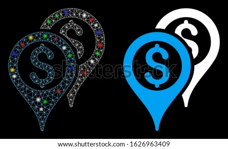 Flare mesh financial map pointers icon with glare effect. Abstract illuminated model of financial map pointers. Shiny wire carcass polygonal mesh financial map pointers icon.