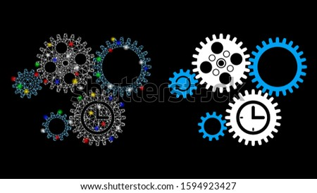 Flare mesh gear mechanism icon with sparkle effect. Abstract illuminated model of gear mechanism. Shiny wire frame polygonal network gear mechanism icon. Vector abstraction on a black background.