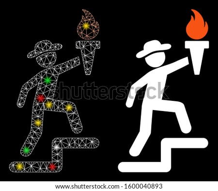 Flare mesh gentleman climbing with torch icon with glare effect. Abstract illuminated model of gentleman climbing with torch. Shiny wire carcass triangular mesh gentleman climbing with torch icon.