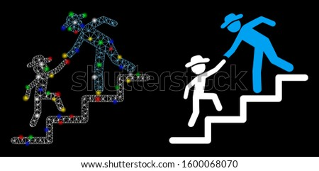 Flare mesh gentleman education steps icon with sparkle effect. Abstract illuminated model of gentleman education steps. Shiny wire carcass polygonal mesh gentleman education steps icon.