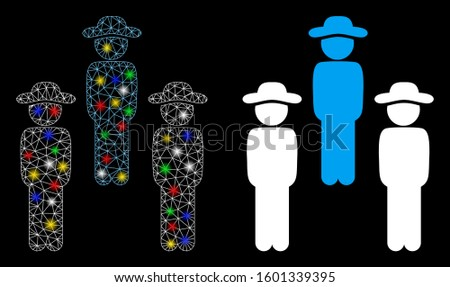 Flare mesh gentleman group icon with glitter effect. Abstract illuminated model of gentleman group. Shiny wire carcass polygonal mesh gentleman group icon. Vector abstraction on a black background.