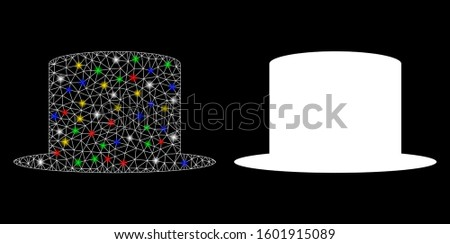Flare mesh gentleman hat icon with glitter effect. Abstract illuminated model of gentleman hat. Shiny wire carcass polygonal mesh gentleman hat icon. Vector abstraction on a black background.