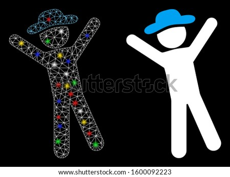 Flare mesh gentleman joy icon with glitter effect. Abstract illuminated model of gentleman joy. Shiny wire carcass polygonal mesh gentleman joy icon. Vector abstraction on a black background.