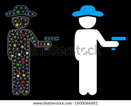 Flare mesh gentleman robber icon with glare effect. Abstract illuminated model of gentleman robber. Shiny wire frame triangular mesh gentleman robber icon. Vector abstraction on a black background.