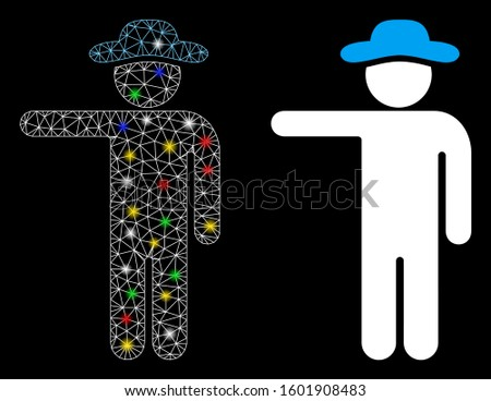 Flare mesh gentleman show icon with glow effect. Abstract illuminated model of gentleman show. Shiny wire carcass polygonal mesh gentleman show icon. Vector abstraction on a black background.