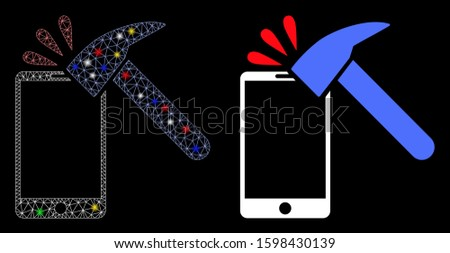 Flare mesh hammer break smartphone icon with glare effect. Abstract illuminated model of hammer break smartphone. Shiny wire carcass polygonal mesh hammer break smartphone icon.