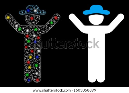 Flare mesh hands up gentleman icon with sparkle effect. Abstract illuminated model of hands up gentleman. Shiny wire frame polygonal mesh hands up gentleman icon.