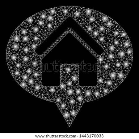 Flare mesh house info balloon with glow effect. Abstract illuminated model of house info balloon icon. Shiny wire frame triangular mesh house info balloon. Vector abstraction on a black background.