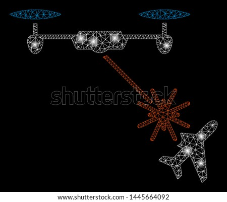 Flare mesh laser drone attacks airplane with glare effect. Abstract illuminated model of laser drone attacks airplane icon. Shiny wire frame polygonal mesh laser drone attacks airplane.