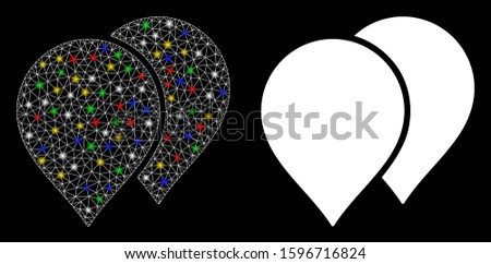 Flare mesh map pointers icon with glitter effect. Abstract illuminated model of map pointers. Shiny wire carcass triangular mesh map pointers icon. Vector abstraction on a black background.