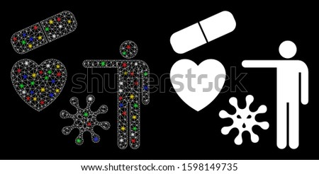 Flare mesh medical objects presentation icon with lightspot effect. Abstract illuminated model of medical objects presentation. Shiny wire frame polygonal mesh medical objects presentation icon.