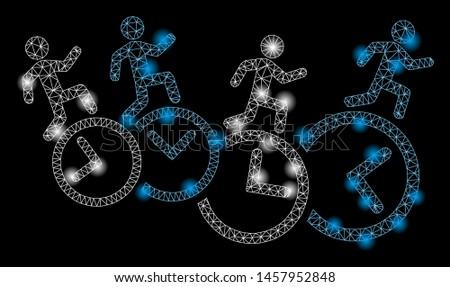 Flare mesh men running over clocks with lightspot effect. Abstract illuminated model of men running over clocks icon. Shiny wire frame triangular mesh men running over clocks.