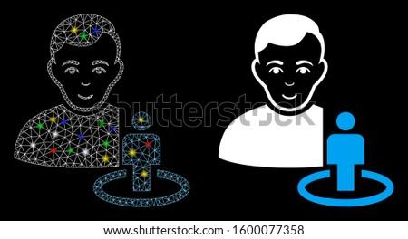 Flare mesh portal moderator icon with lightspot effect. Abstract illuminated model of portal moderator. Shiny wire frame polygonal mesh portal moderator icon. Vector abstraction on a black background.