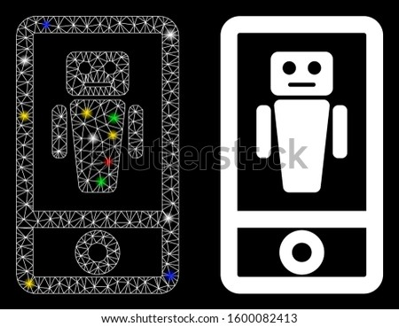 Flare mesh robot communicator icon with sparkle effect. Abstract illuminated model of robot communicator. Shiny wire frame triangular network robot communicator icon.