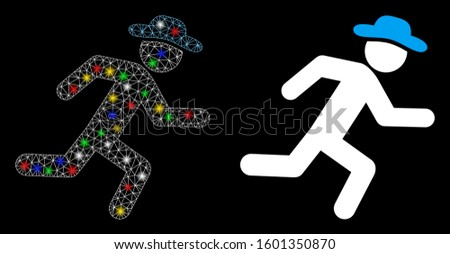 Flare mesh running gentleman icon with sparkle effect. Abstract illuminated model of running gentleman. Shiny wire carcass polygonal mesh running gentleman icon.