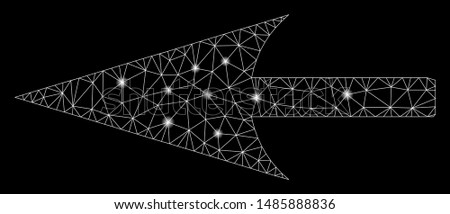 Flare mesh sharp left arrow with sparkle effect. Abstract illuminated model of sharp left arrow icon. Shiny wire carcass polygonal mesh sharp left arrow. Vector abstraction on a black background.