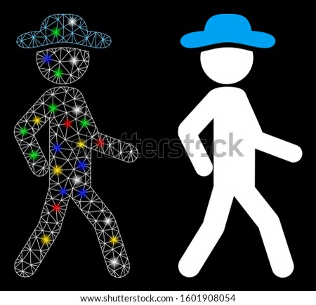 Flare mesh walking gentleman icon with glow effect. Abstract illuminated model of walking gentleman. Shiny wire frame polygonal mesh walking gentleman icon. Vector abstraction on a black background.