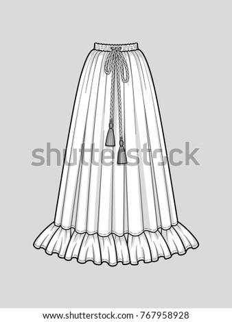 Flared long skirt with ruffle hem. Elastic smocked waist. Tasseled tie waist. Maxi length. Vector illustration. Technical flat sketch.
