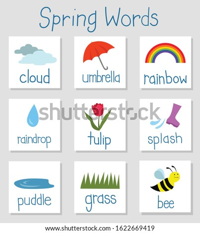 Flash cards for Spring weather related vocabulary. Learn outdoor words like cloud, umbrella, rainbow, raindrop, tulip, splash, puddle, grass, bee. Use for kids, esl, English, teaching, learning ストックフォト ©