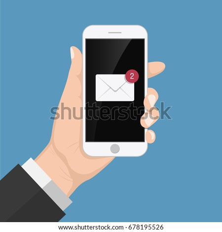 Flash Design style hand  holding the smartphone with e-mail application on screen  ,vector design Element illustration
