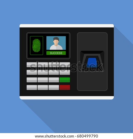 Flash Design style with long shadow the access control machine or time the attendance machine with access is fail on screen ,vector design Element illustration