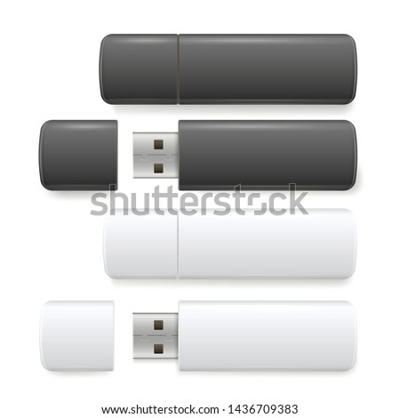 Flash drive realistic set, computer storage device. Small electronic device containing flash memory. Vector flash disk illustration on white background.