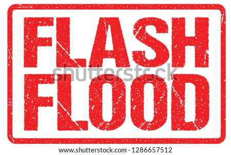 Flash Flood Warning Sign Red Banner, Flood Warning With Distressed Grunge Rubber Texture. Stock photo ©