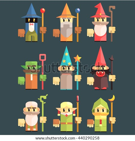 flash game wizard set of flat