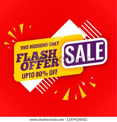 flash offer sale banner flat design.