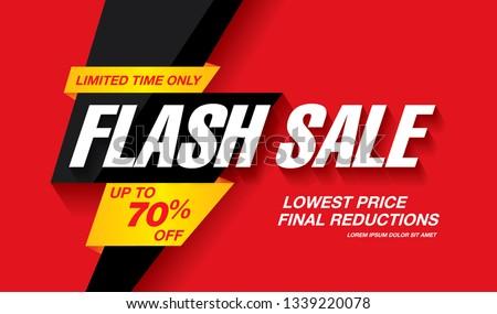 flash sale banner layout design, vector illustration
