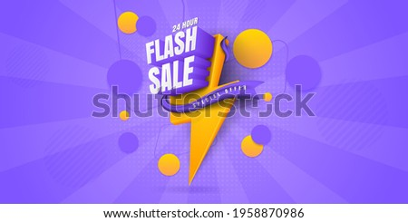 Flash sale banner. One day big sale, special offer, clearance. Sale banner template design, Super Sale, end of season special offer banner. vector illustration.
