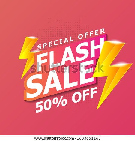 Flash Sale banner template design. Vector illustration. Foto stock ©