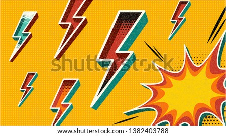 Flash Sale banner template design.Vector illustration. Retro comic design speech bubble. Flash explosion with cloud, lightning. Pop art vector elements easy editable for store shop banner and poster.